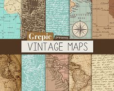 Vintage maps digital paper: retro texture with by ElyseBear