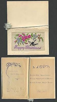 Ww1 silk #embroidered old #greeting card bird #flowers happy christmas xmas novel,  View more on the LINK: http://www.zeppy.io/product/gb/2/381645419437/