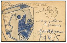 The card from Pablo Picasso to his friend, French poet Guillaume Apollinaire, is dated September 5, 1918. -