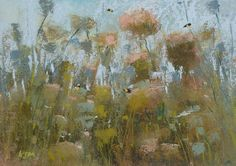 Queen Anne's Lace Floral with BEES Fine Art Original Pastel Painting soft, pink 5x7