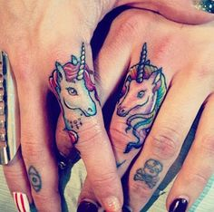 http://tattooideas247.com/unicorn-fingers/ Unicorn Finger Tattoos #Eye, #Finger, #Skull, #TattooIdea, #Unicorn
