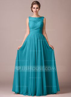 A-Line/Princess Scoop Neck Floor-Length Chiffon Lace Bridesmaid Dress With Ruffle (007057702) - JJsHouse