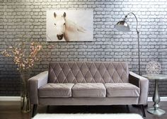 Bowery Petite Grey Velvet Sofa The Bowery sofa is stylish, comfortable and edgy. Sofa Sale for $426