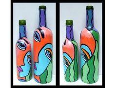 Multi coloured woman face combo of 2 Painted Glass Bottle- Flower Vase-Vases