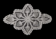 Vintage German handmade crocheted doily with thistles -- light beige -- from Germany