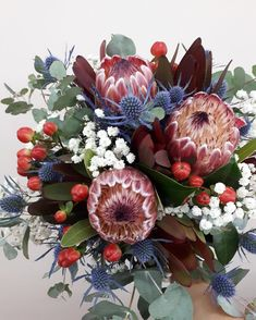 luxury cars - Growing in popularity, rustic native style bridal bouquets offer something different to your traditional bridal bouquet 💐⠀ ⠀ Gorgeous proteas were the statement flower for this particular bouquet, surrounded by hypericum berries Pops of co Flor Protea, Protea Bouquet, Protea Flower, Dried Flower Bouquet, Dried Flowers, Bouquet Box, Rustic Flower Arrangements, Succulent Centerpieces, Colors