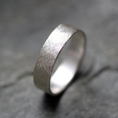 Textured wedding band ring - recycled sterling silver - mens wedding ring - artisan metalsmith - scratch texture. $75.00, via Etsy.
