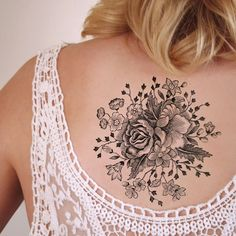 Large vintage floral temporary tattoo:
