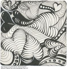 """Op Hearts 2 by Sharla R. Hicks © 2012, Micron Pigma Pen and 3.5"""" Tile"""