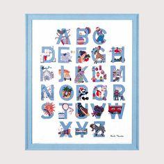 kit de broderie au point de croix point compté, illustration enfantine bleue création Cécile Vessière