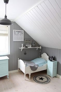 Child's bedroom in grey, white and pale aqua blue. An unexpected color combination that looks fresh, crisp, clean and just a bit retro, yet modern at the same time.. I really, really like this room!
