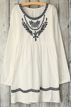 Leaves Pattern Embroidery Long Sleeve Dress