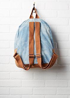 Crochet Pocket Washed Denim Backpack