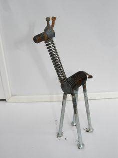 recycled giraffe metal garden sculpture