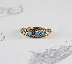 6142c3f44c Victorian Baby Ring Antique 10k Yellow Gold   Opal Stacking October Birth  Stone