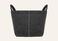 Pia Wallen Box with Handles A beautifully crafted felt storage box with handles. Made with wool in a dark grey melange with white stitching. 40 x 40 x this box is made in Sweden. Dark Grey, Handle, Nude, Wool, Tote Bag, Sweden, Stitching, Leather, Felt