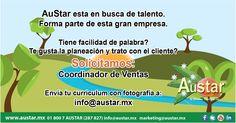 Por expansión, solicitamos para las oficinas de GDL: Ingeniero Agrónomo y Coordinador de Ventas. Interesados enviar curriculum a: info@austar.mx ó marketing@austar.mx