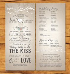 Long, skinny wedding programs with non-tradition ceremony description.