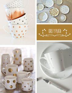 Un rotulador de porcelana puede convertir unas tazas o platos en una vajilla nueva. Un poco de inspiración para un DIY perfecto de fin de semana.