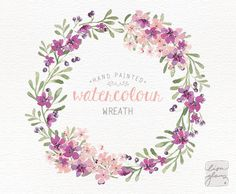 Watercolor wreath: hand painted floral wreath clipart / Wedding invitation clip art / commercial use / pink blossom berries / – Guirlanda de Flores Watercolor Paper Texture, Watercolor Art Paintings, Wreath Watercolor, Watercolor Flowers, Watercolor Wedding, Painting Art, Watercolor Clipart, Corona Floral, Wreath Drawing