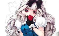 apple girl - cute-anime-girls  Alice in wonderland Anime Alice  Red Apple and Black Bow