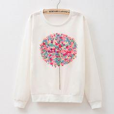 2015  New spring Hoody women Casual hoodies  print  sleeve  long sleeved balloon pattern sportswear  women 20 model
