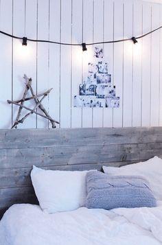 #lights #barnwood bed #christmas