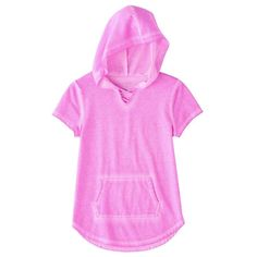 Girls 7-16 & Plus Size SO® Short Sleeve Sparkle Hooded Pullover, Size: 12 1/2, Lt Purple