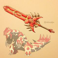 And A New House Mate's from the story Highschool DxD : Dovahkiin(remake) by with reads. Pokemon Fan Art, Cool Pokemon, Pokemon Go, Pokemon Pins, Anime Weapons, Fantasy Weapons, Groudon Pokemon, Deadpool Pikachu, Pokemon Cosplay