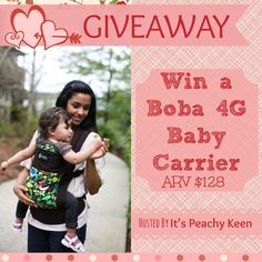 Enter to win a Boba 4G Baby Carrier at: http://www.mtmommy.com/2014/01/boba-carrier-4g-giveaway.html