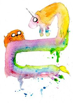 Jake and Lady Rainicorn watercolor art print. ^-^