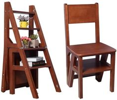 Kitchen Step Stool, Kitchen Dining, Ladder Chair, Benches For Sale, Wood Steps, Folding Stool, A Table, Dining Table, Space Saving