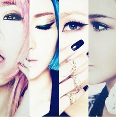 2NE1 ~ starting from left to right: Minzy, Dara, CL, and Park Bom