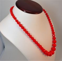 60s Red Glass graduted facetted beads matinee necklace Vintage by LoukiesWorld on Etsy