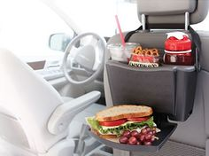 Adjustable strap securely loops over the headrest Fold-down tray supports meals, books, games, toys and electronics Dual cup holders/storage compartments hold 20 oz. drinks or items such as pens, markers and crayons Bottom hooks perfect for hanging trash or additional storage bags Cup holder insert is removable for easy cleaning Dishwasher safe
