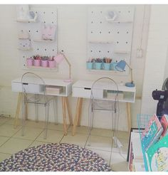 At some stage I will really need to finish off styling these #Kmart pegboards! But I love their little homework area! Naomie is 10 and Trent is 8 - perfect sized desks for them, even if they are supposed to be hall tables! #repurposed #scandi #scandidecor #scandistyling #ghostchairs #pegboard #kmartstyling #homewares #studyspace #studynook #desks #homeoffice #budgetstyling #design #decor #homedecor