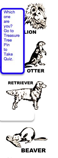 Here are the descriptors for the four animals of the Treasure Tree Personality Assessment. Be sure to go to my pin for the Treasure Tree Personality Assessment for the online questions.