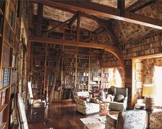 Dream room.  Ladder at the ready, two rocking chairs and lots of light.  Sigh.  From magnolia-garden and les-mots-croises on Tumblr