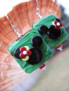 Holiday Mickey Mouse Earrings Lampwork by BlackPearlTreasures, $40.00