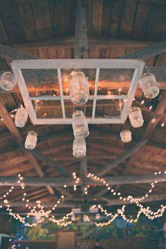window + mason jar chandelier // photo by Sassyfras Studios