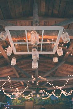 #rustic #mason #jar #chandelier #wedding #boho #bohemian #lights