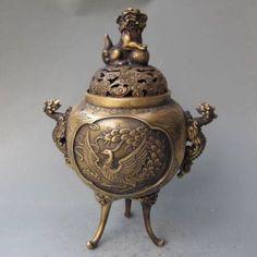 Home Office Storage Decorated Old Flower Handwork Porcelain & Tibet Silver Belle Incense Burner Copper Decoration Real Tibetan Silver Brass