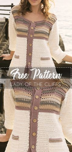 Lady of the Cliffs – Pattern Free – Easy Crochet - Fashion Crochet Coat, Crochet Cardigan Pattern, Crochet Tunic, Crochet Jacket, Crochet Clothes, Easy Crochet, Free Crochet, Crochet Sweaters, Knooking