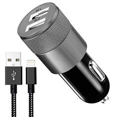 Car Charger, 3.1A Rapid Dual Port USB Car Charger+6FT Apple Lightning Cable Adapte to USB Cable for iPhone 7/7 Plus,6/6S/6 Plus/6S Plus,5S/5,iPad,iPod Nano 7,Android Cable devices(Black)  [Perfect Compatibility]-3.1A USB Car Charger broad compatibility of your favorite popular mobile devices including the iPad, iPhone , iPod, HTC, Galaxy, Blackberry, MP3 Players, Digital Cameras.(3.1A, Total).  [Perfect Design]-Multi-annular design of appearance allow you pull out the Charger from car ...