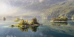The sun shines on Eibsee, Bavaria