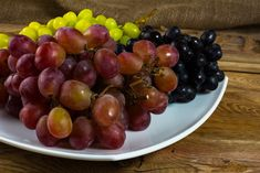 Bunch of white, red and dark grapes on a dark wooden background. Food Photo, Stock Photos, Fruit, Health, Wooden Background, Dark, Red, Health Care, Food Photography