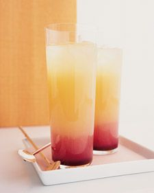 "Pineapple Gin ""Kir""   (3/4 cup pineapple juice  1/2 cup gin  2 tablespoons fresh lemon juice  2 teaspoons creme de cassis  2 pineapple wedges)"