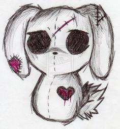 emo bunny by ajcekk traditional art drawings animals 2010 2012 ajcekk . Creepy Drawings, Dark Art Drawings, Art Drawings Sketches, Cartoon Drawings, Cool Drawings, Creepy Sketches, Kawaii Drawings, Creepy Paintings, Halloween Drawings