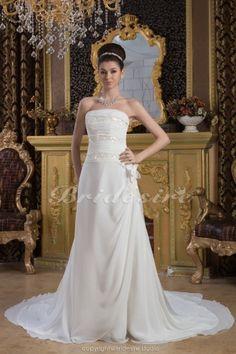 Sheath/Column Strapless Floor-length Court Train Sleeveless Chiffon Wedding Dress - $178.99