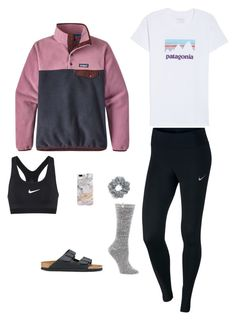"""Patagonia outfit #2"" by brienna-578 on Polyvore featuring Patagonia, NIKE, UGG, Birkenstock, Natasha and Recover"